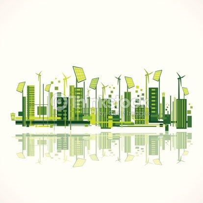 Green Eco City Background Vector Art Thinkstock