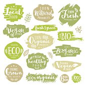Set of  of Hand drawn 100%, bio, labels. Vector restaurant or product package design.