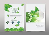 Green ecology design on background.Brochure template layout,cover design,annual report,magazine,leaflet,presentation background,flyer design.and booklet in A4 with Vector Illustration.