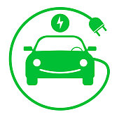 green electric car with charging cable symbol vector illustration