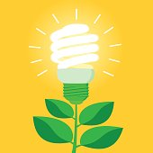 Green energy efficient CFL light bulb. Ecological power saving metaphor. Flat style vector illustration.