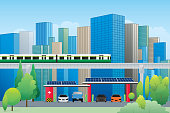 The electric vehicle charging station with solar panels and cityscape background. Vector illustration of green energy