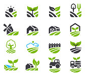 Green fields icon. Agricultural non-chemical farming and friendly environment.