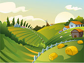 Rural Landscape vector illustration.