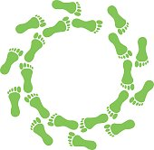Green foot in ring on white background.