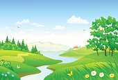 Vector cartoon drawing of a beautiful forest river, horizontal landscape panorama