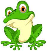 vector illustration of Green frog sitting