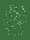 A green Germany map with border lines of different states and shading on dark background vector illustration