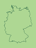 A green Germany map with single border line and shading on light background vector illustration