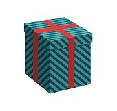 Green gift box with Ribbon on white background. 3d Vector