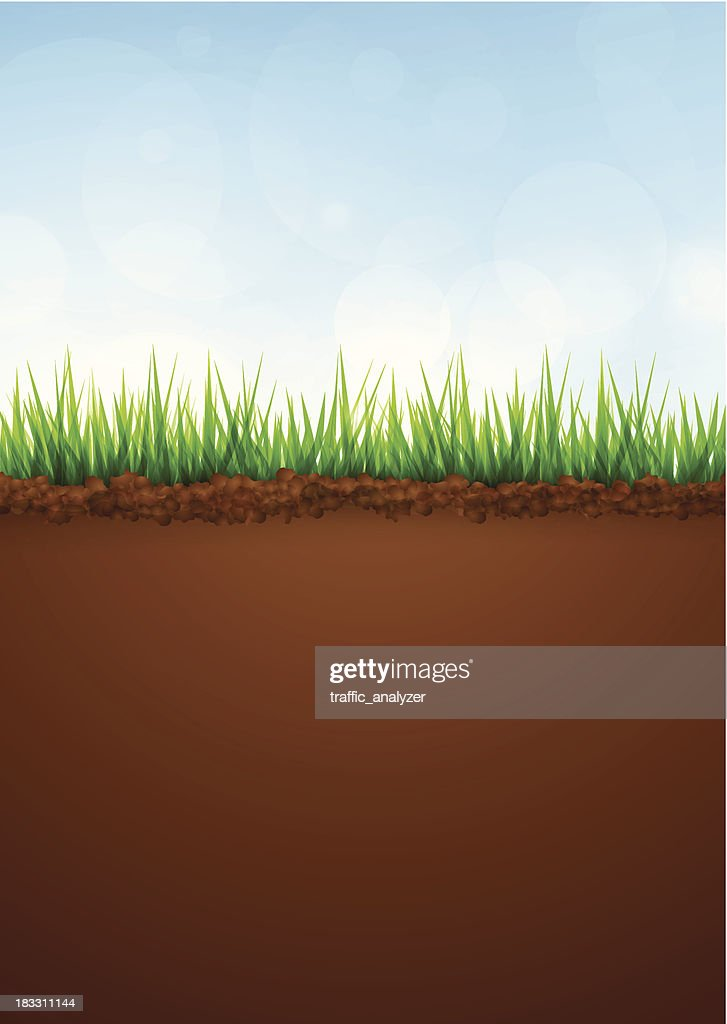 Green grass and soil vector art getty images for Soil and green
