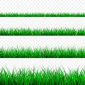 Green Grass Border Set, Vector Illustration.