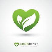 Green vector icon with heart shape and two leaves. Can be used for eco, vegan, herbal healthcare or nature care concept design