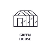 green house line icon, outline sign, linear symbol, flat vector illustration