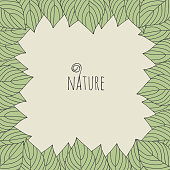 Green leaf ecology nature background with text Nature, vector illustration.