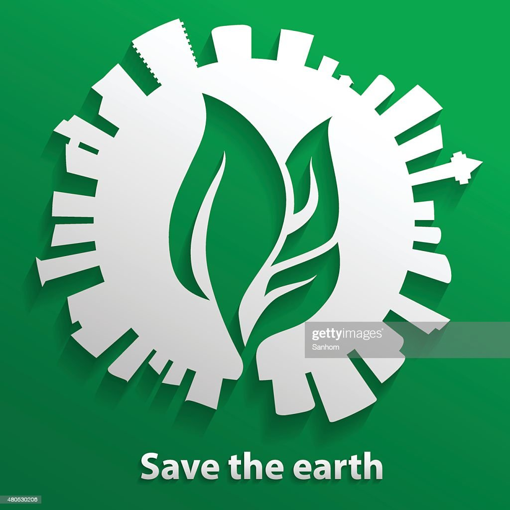 green leaf inside the earth and tower building around : Vector Art