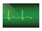 Green line heart rate on the screen. Vector electrocardiogram background.
