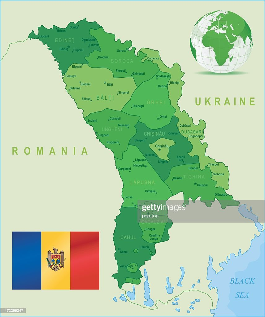 Green Map Of Moldova States Cities And Flag Vector Art Getty Images - Moldova map