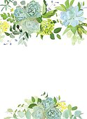 Green mix of hydrangea, succulents, echeveria, eucalyptus, wildflowers, herbs and plants vector design floral frame. Wild rustic wedding flowers. All elements are isolated and editable.