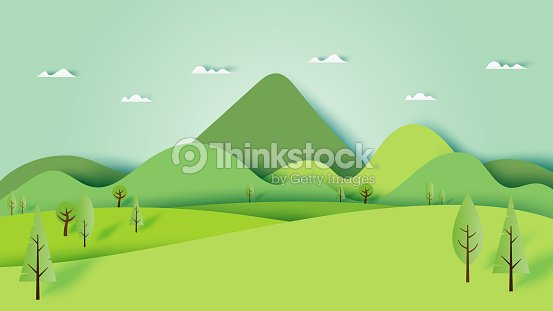 Green nature forest landscape scenery banner background paper art style. : stock vector