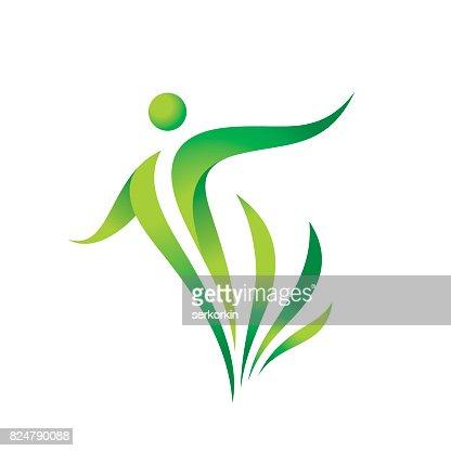 Grüne Natur Vektor Icon Vorlage. Gesundheit-Zeichen. Fitness Frau Konzept Abbildung. Menschlichen Charakter mit Blättern. Symbol der Freiheit. Design-Element. : Vektorgrafik