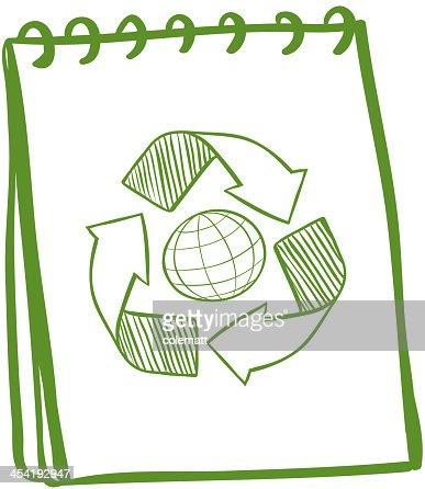 Verde portatile con un disegno del simbolo di riciclo : Arte vettoriale