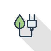 Green plug, Eco energy power socket thin line flat color icon. Linear vector illustration. Pictogram isolated on white background. Colorful long shadow design.