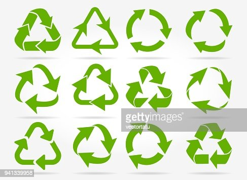 Green recycle arrow icons : stock vector