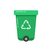 Green recycle bin icon in flat style. Trash can with recycling symbol arrows isolated on white background.