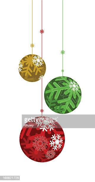 Green red and gold Christmas ornament bulbs hanging