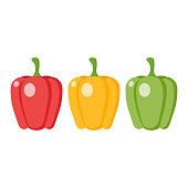 Green, red and yellow bell pepper cartoon. Bell pepper clipart vector illustration.