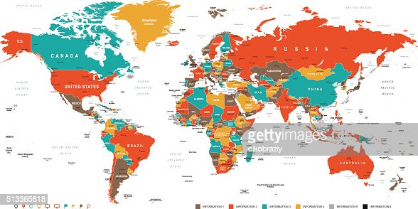 Green Red Yellow Brown World Map : stock vector