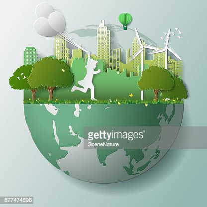 Green renewable energy ecology technology power saving environmentally friendly concepts, girl run and hold balloons in parks near city on globe : Arte vetorial