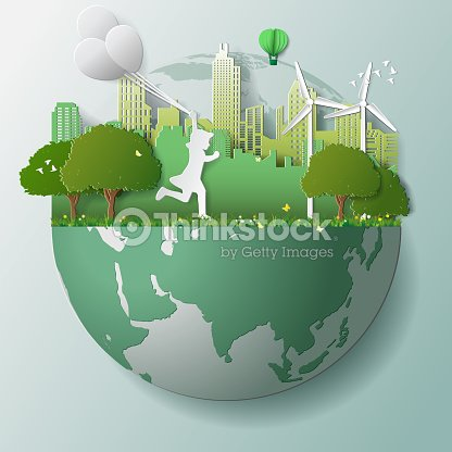 Green renewable energy ecology technology power saving environmentally friendly concepts, girl run and hold balloons in parks near city on globe : stock vector