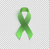 Green ribbon on transparent background. Vector illustration.