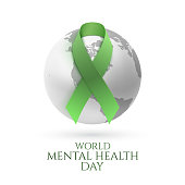 Green ribbon with monochrome earth icon isolated on white background. World mental health day poster or brochure template. Vector illustration.