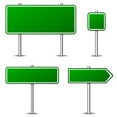 Illustration of green road signs on white background