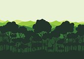 Green silhouette forest abstract background.Nature and environment conservation concept flat design.Vector illustration.