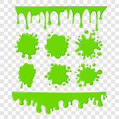 Green slime vector set on checkered transparent background. Paint drop abstract illustration
