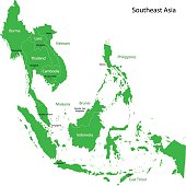 Green map of Southeastern Asia divided by the countries