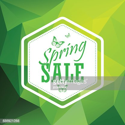 Green spring sale low polygonal background with vintage hexagonal badge : Vector Art