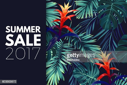Green summer tropical background with exotic palm leaves and flowers. Vector floral background : stock vector