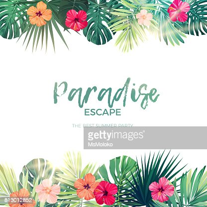 Green summer tropical background with exotic palm leaves and hibiscus flowers. Vector floral background : stock vector