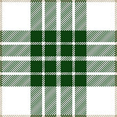 Green and white seamless traditional tartan plaid pattern design.