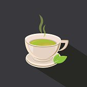 Green Tea cup vector illustration