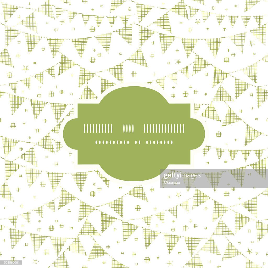 Green Textile Party Bunting Frame Seamless Pattern Background : Vector Art