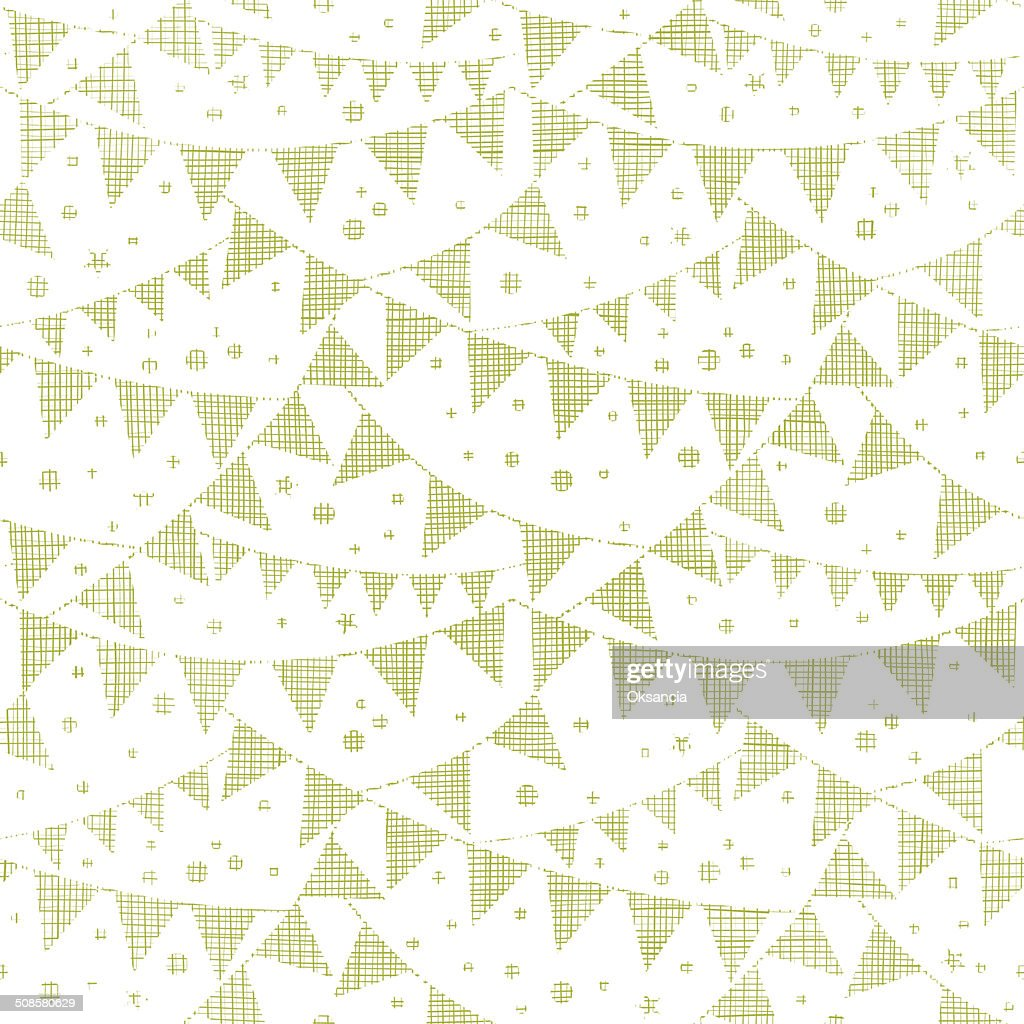 Green Textile Party Bunting Seamless Pattern Background : Vector Art