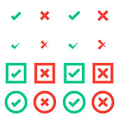 Set of green tick and red cross checkmarks in circle and square flat icons. Vector illustration isolated on a white background. Acceptance of voting results. Premium quality.