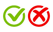Green tick symbol and red cross sign in circle. Icons for evaluation quiz.