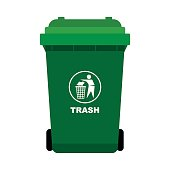 Green Trash with man throw out the thrash icon, isolated on white background, flat design style-Vector Illustration
